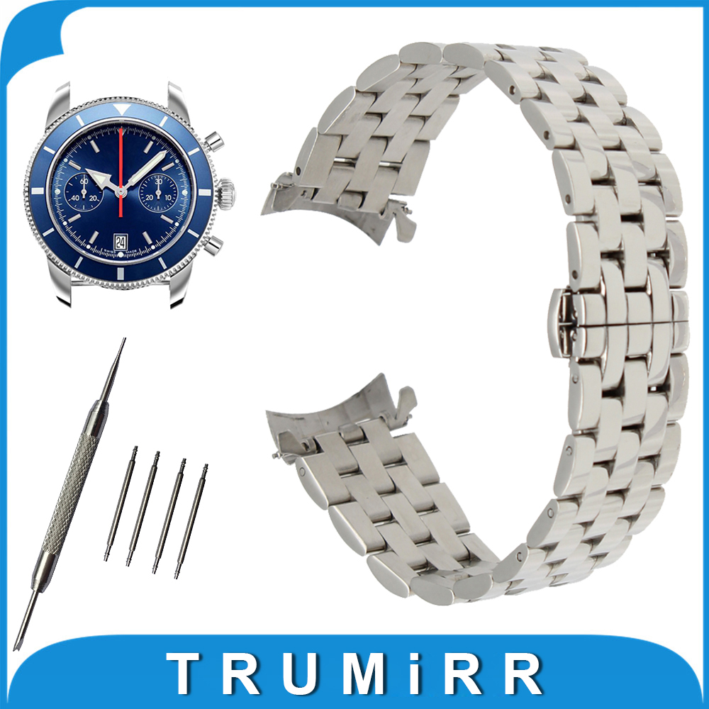 18mm 20mm 22mm 24mm Stainless Steel Watch Band Curved End Strap for Breitling Watchband Butterfly Buckle Wrist Belt Bracelet curved end stainless steel watch band for breitling iwc tag heuer butterfly buckle strap wrist belt bracelet 18mm 20mm 22mm 24mm