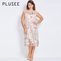 Plusee Plus Size Bohemian Women Boho 2017 Pink Sexy Floral Embroidery Summer Party Gown Large Size