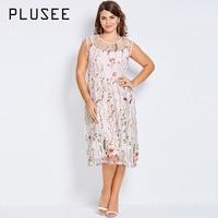 Plusee Plus Size Donne Della Boemia Boho 2017 Rosa Sexy Floreale Estate del ricamo Abito Del Partito Vestito di Grandi Dimensioni 4XL Plus Size abiti