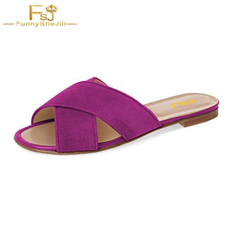 0cb866a3b41 FSJ Women Casual Slide Flats Sandals Low Heel Cut Out Open Toe Mules Faux  Suede Shoes