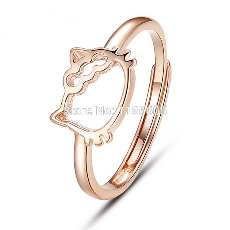 925 anel de prata esterlina para a mulher de estilo Coreano Bonito olá kitty moda anel das mulheres anel da cauda 3 cores