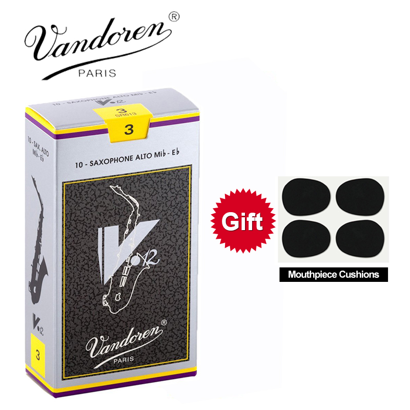 Originele Frankrijk Vandoren V12 Alto Sax Rieten / Saxofoon Alto Eb Rieten Sterkte 2.5 #, 3 #, 3.5 # Grey Box van 10 [Met Gift]