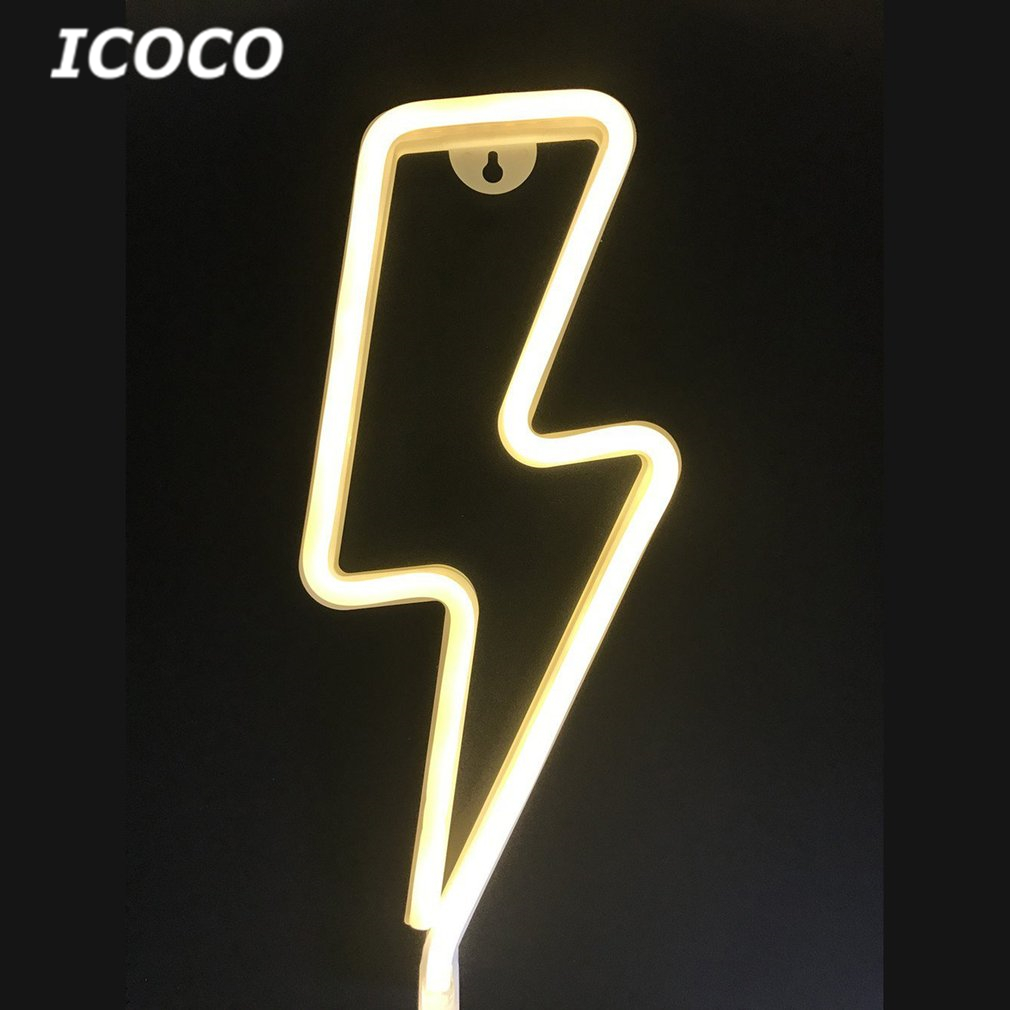 ICOCO Thunder Shape LED Night Light Wall Hanging Neon Light for Festival Party Night Club Wedding Decoration Light Drop Shipping ropio love letters shape led night lights table lamp wall hanging neon light for festival wedding party decoration lighting