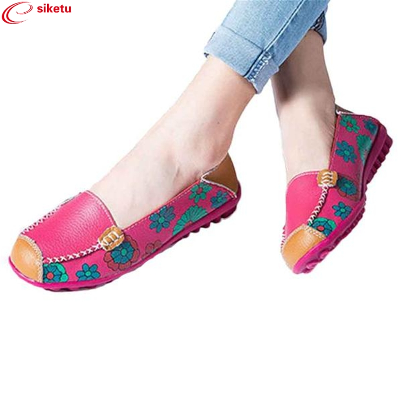 Charming Nice siketu 2017 New Women Leather Shoes Loafers Soft Leisure Flats Female Casual Shoes Best Gift Drop Shipping Y30 charming nice siketu best gift baby flats tassel soft sole cow leather shoes infant boy girl flats toddler moccasin y30