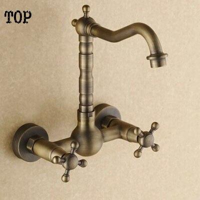 Antique laiton mural double poignée robinets de cuisine mur évier robinets bassin robinets salle de bain
