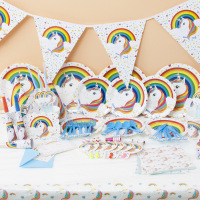 90Pcs/set White Unicorn Theme Party Sets Kids Birthday Party Supplies Unicorn Tableware Banner Baby Shower Wedding Decorations