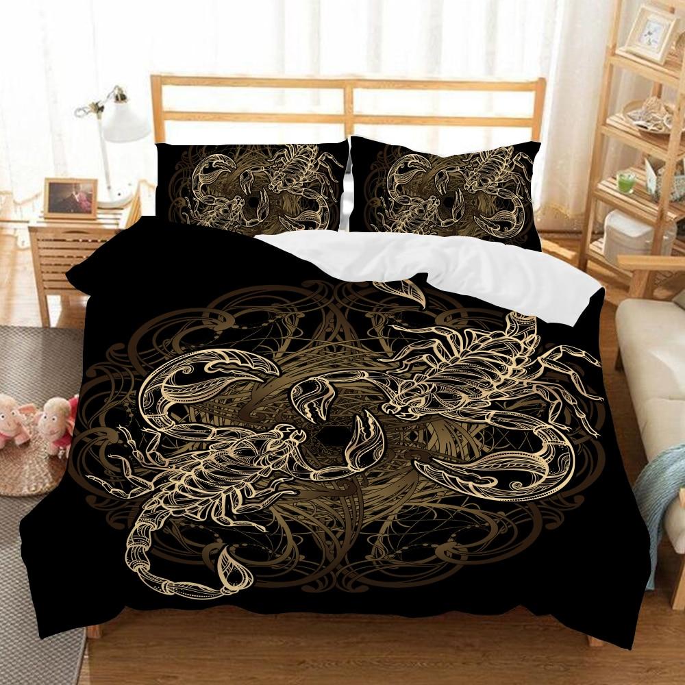 Bedding Gold Scorpion Bedding Set Single Double Queen King Meteor Scorpio Duvet Cover Constellation Bed Set Bohemian Black Bedclothes Home Textile