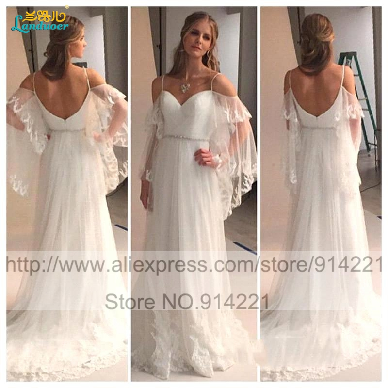 Vestidos De Noiva 2016 Chiffon Lace Cheap Bohemian Wedding Dresses Sexy Boho Beach Robe Mariee Casamento In From