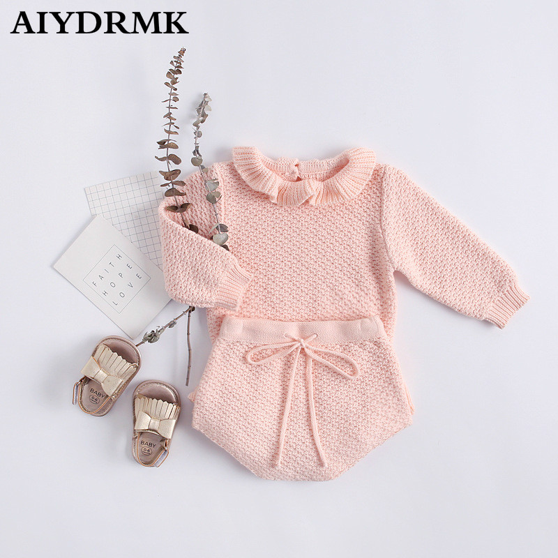 Infant Girls Baby Ruffled Rib Bodysuit Pants Headband 3Pcs Sets Outfits Clothes