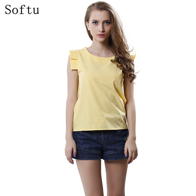 Softu Fashion Women Summer Blouse O-Neck Butterfly Sleeve Solid Shirt  Elegant Leisure Chiffon Blouses
