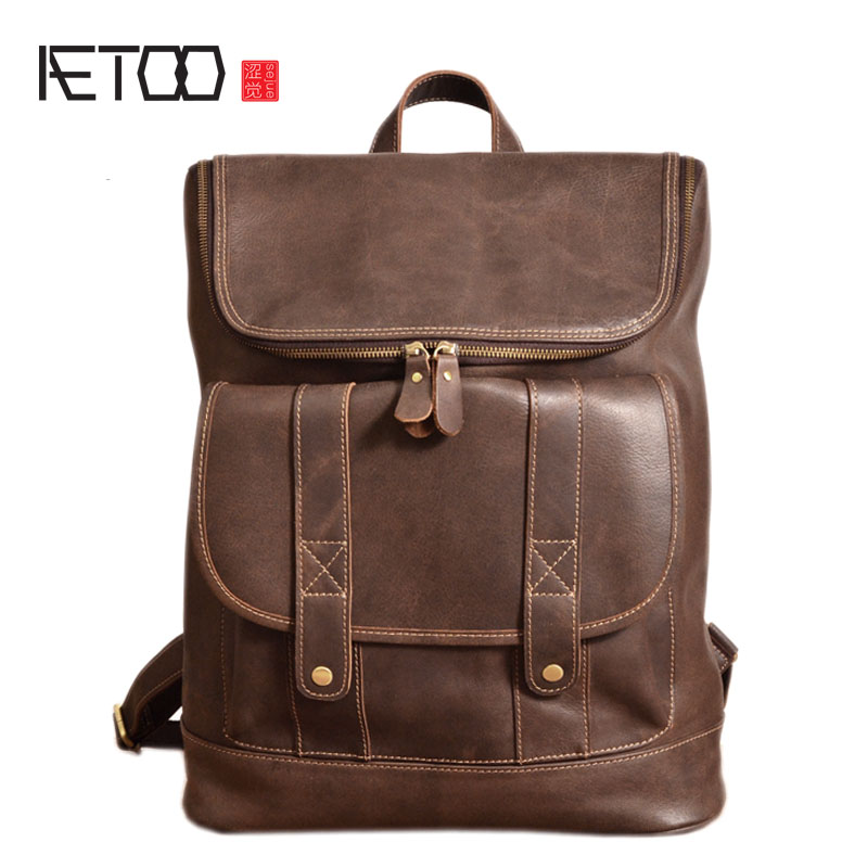 AETOO Original handmade crazy horse skin backpack men first layer leather leather travel mountaineering bag mad horse leather co aetoo original handmade crazy horse skin shoulder bag head layer cowhide art retro mad horse leather bag mountaineering travel b