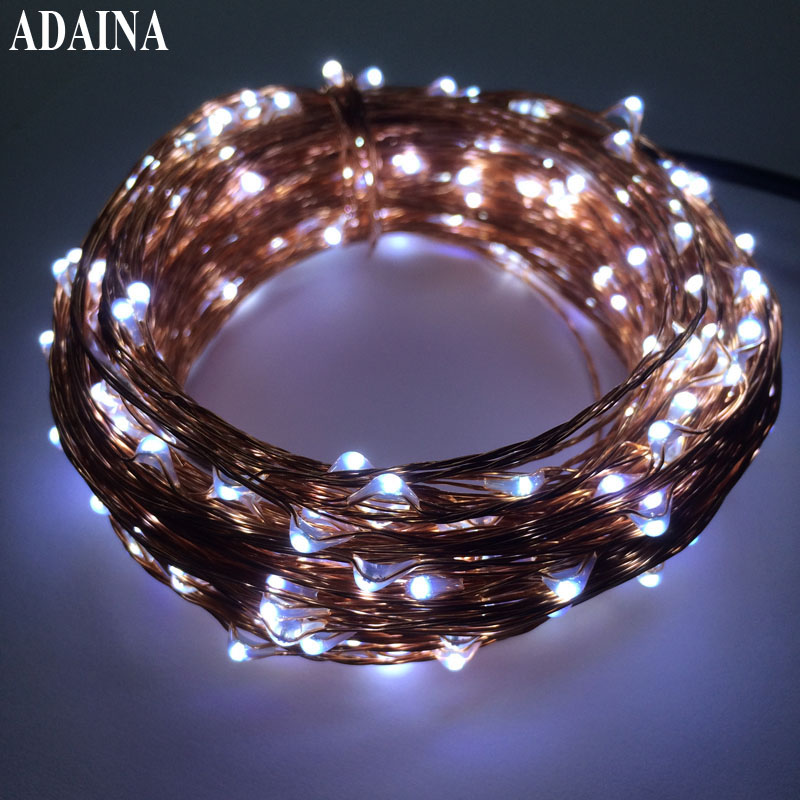 33FT 10M 200 Leds Kobber Wire Fairy LED String Light With Power Adapter Xmas String Light Halloween Christmas Wedding Decoration
