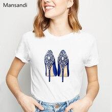 High heel paradise Print T Shirt women Pretty Rivet Shoes Art Design vogue tshirt female harajuku shirt summer tops t-shirt sew pretty t shirt dresses