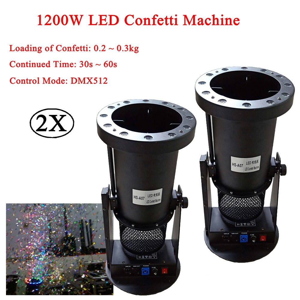 2Pcs/Lot 1200W DMX Confetti Blower Stage Effect Cannon LED RGB Confetti Machine For Disco DJ Party Wedding Show Decoration