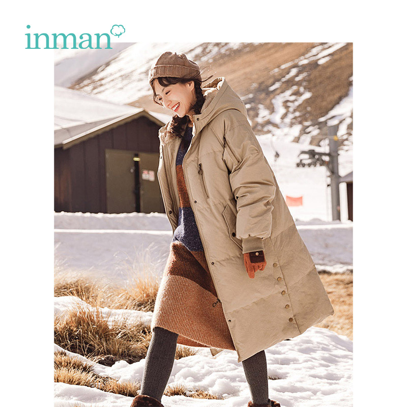 INMAN Winter Hoodies Split Loose Style Long Big Keep Warm Wind Proof Women White Duck   Down     Coat
