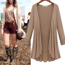 Women Fashion Cotton Top Thin Blouse Long Sleeve Summer Cardigan Sweater Coat Big Size Flounce Laipelar