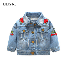 LILIGIRL Kids Vintage Tops Clothes for Toddler Girls Denim Jacket Coats 2019 Baby Rose Flower Embroidery Jackets Windbreaker