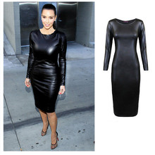 Women Shiny Black Faux Leather Dress Long Sleeve Bodycon Midi Dress Knee Patent Leather Dress Celebrity Sexy Black Club Dresses