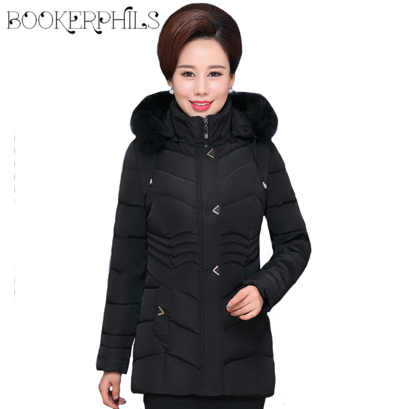 2017 Middle-aged Winter Jacket Women Fur Collar Plus Size Warm Slim Cotton Padded Hooded  Autumn Parkas Coat Female Outerwear купить