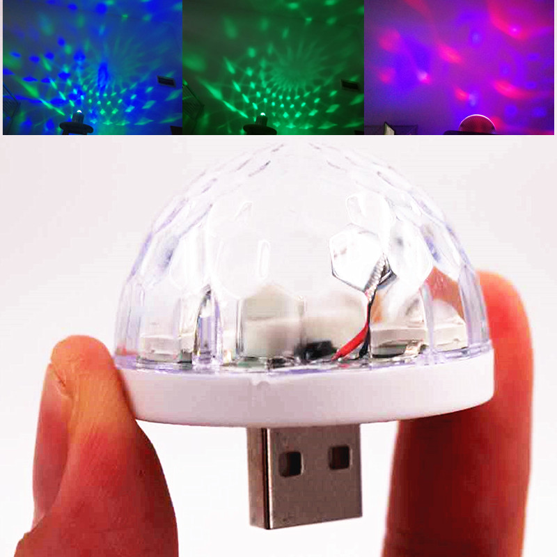 Mini USB Levou 5 V RGB luz colorida Bola lâmpada de luz de controle de Música KTV DJ disco luz do estágio de luz