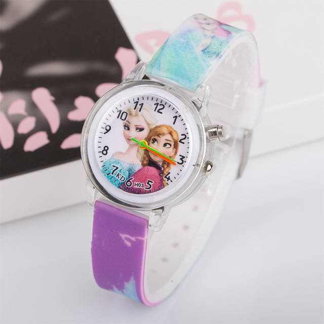 Pincess Elsa Kids Watches Colorful Flash Light Electronic Children Watch Girls Birthday Party Gift Clock Wrist Dropshipping 1