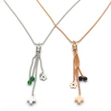 mujer kolye wholesale stainless steel necklace jewelry long necklace with tassel & cross &flower beads color is random N5133(China)