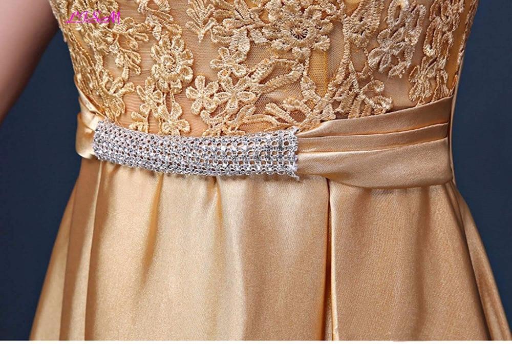 A Line Long Prom Party Dress Gold Appliques Beaded Sash Satin Evening Gowns V Back formal dress women elegant robe de soiree