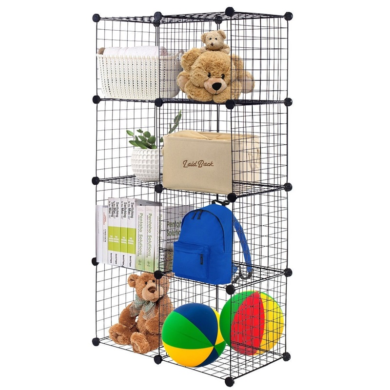 DIY 8 Cube Grid Flexible Wire Cube Shelves Home Storage Holders Household Organization HW56102