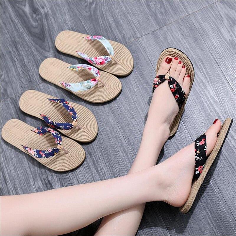 Women Shoes Slippers Sandals Platform Thongs Wedge Flip-Flops Floral Beach Summer Bohemia