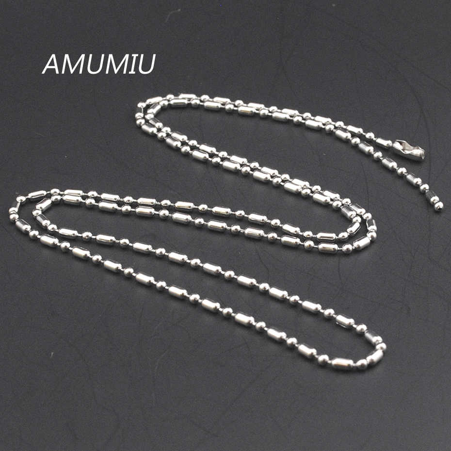AMUMIU 40/45/50/55/60/65/70 CM  Stainless Steel Titanium Tide Wild Bamboo Bead Chain Necklace HZN000