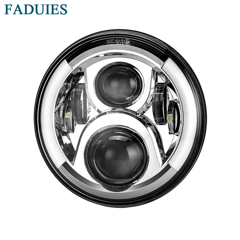купить FADUIES 60W 7 Motorcycle Led Headlight with Angel Eye White Half Halo & Amber turn singal For Harley Davidson Touring Softail недорого