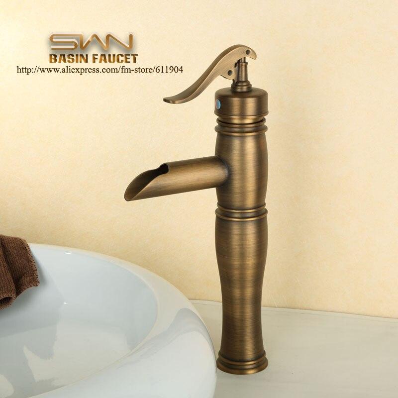 Antique Brass Water Pump Bathroom Faucet Bath Lavatory Vessel Sink ...