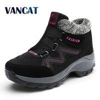 VANCAT 2017 Women Snow Boots Winter Warm Suede Boots Thick Bottom Platform Waterproof Ankle Boots Sneaker