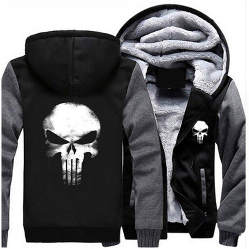 USA TAILLE Hommes Hoodies Punisher Crâne Casual Hoodies Épais Polaire Manteau Veste Unisexe Sweatershirts