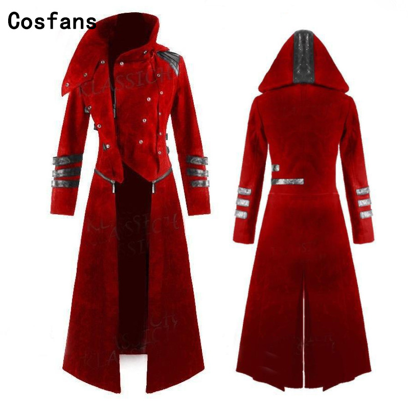 Hot New Scorpion Mens Coat Long Jacket Gothic Steampunk Hooded Trench Medieval Cosplay costume for Adult Women Men Free Shipping