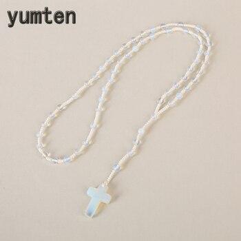 48ebd8db46ae Yumten de Cruz colgante collar de cristal Rosario religioso antiguo fino de  la joyería de las mujeres Reiki Piedra Natural Regalos Comunion
