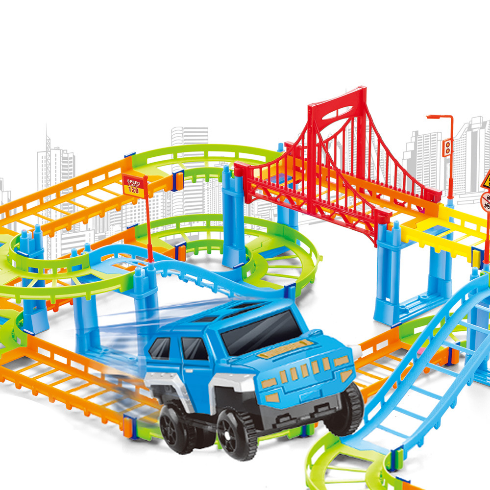 92Pcs Colorful Track Kids DTY Train Rail Model Baby Racing Car Color Railway Track Toy Building Set with Electric Car Child Gift