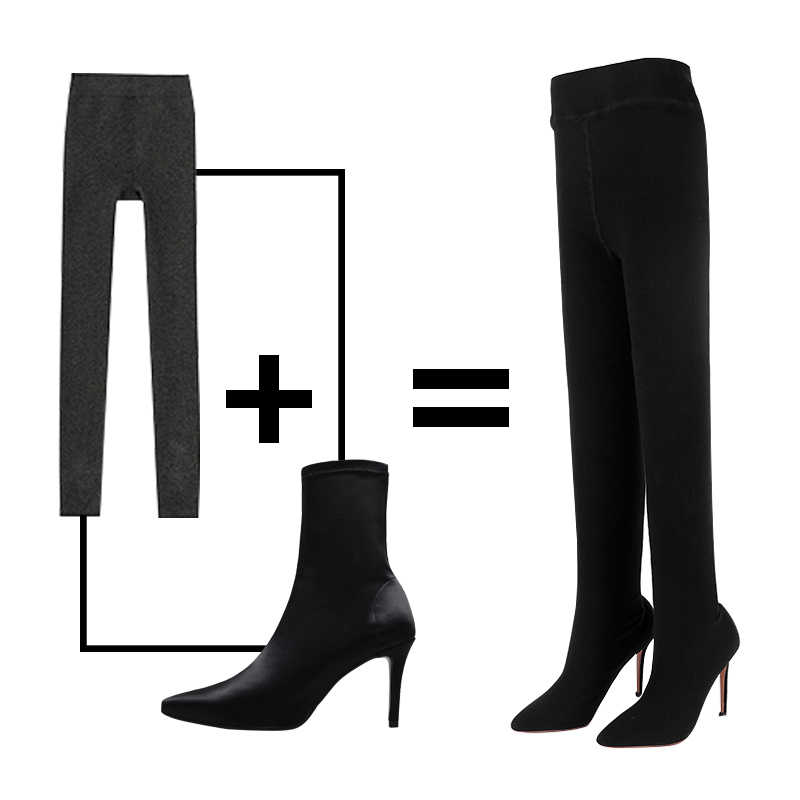 88a4ab1d71db ... WETKISS FlyKnit Sexy Female Fashion Leggings Boots Stretch Trousers Women  Shoes Stiletto Heel Sock Boots Two ...