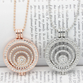Fashion Jewelry Rose Gold\Rhodium Plated  Circular Hollow Crystal Inlaid Coin Chain Necklaces Locket Frame Necklace for Women