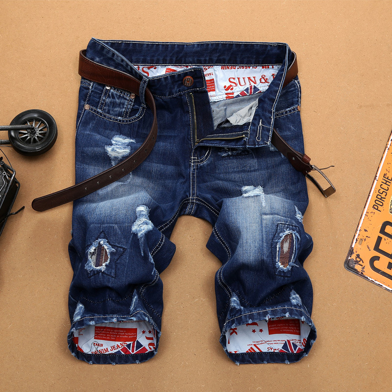 Haute qualité boutique printemps et été célèbre marque hommes jeans jeunesse populaire impression trou droit slim pantalon hommes