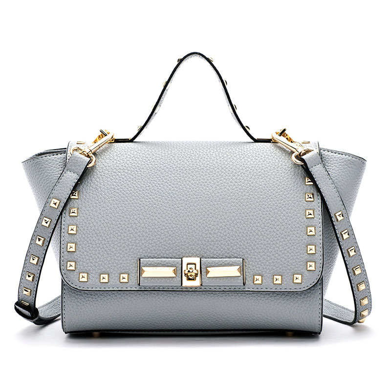 ФОТО Doodoo New Style Women's Leather Studded Rivets Trapeze Satchel Tote Bag Purse Top Handle Handbag Shoulder Crossbody Bag