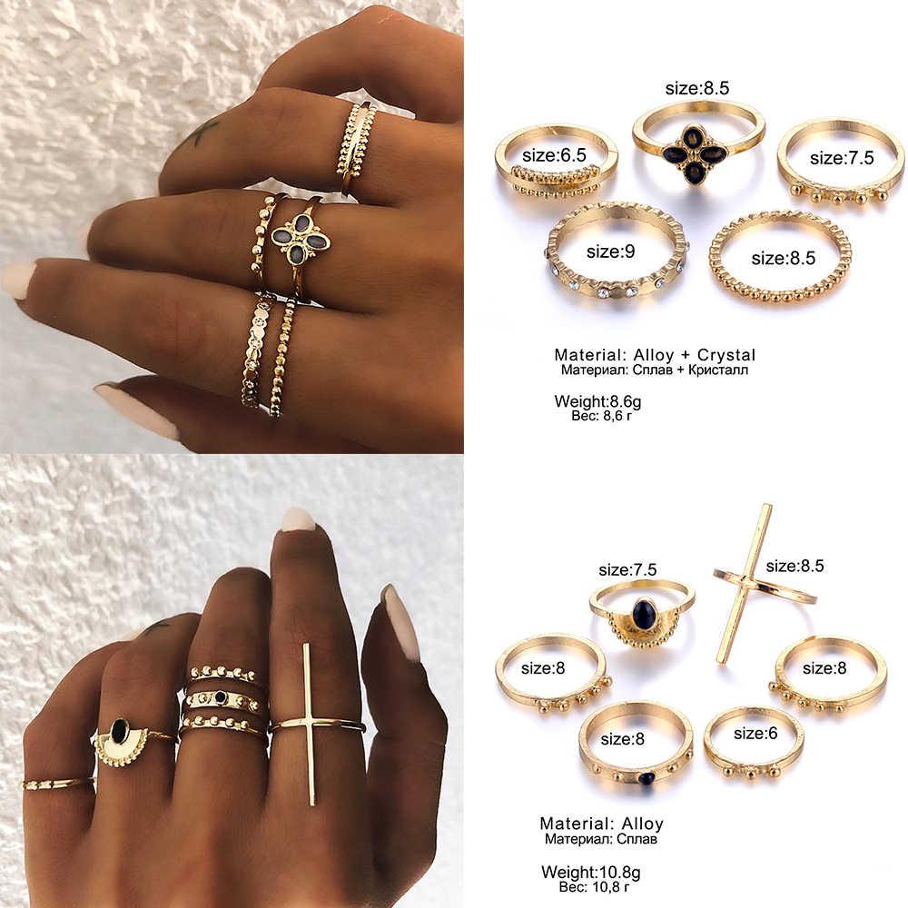IPARAM богемный Винтажный Золотой полумесяц геометрический комплект колец для женщин Кристалл индивидуальный дизайн кольцо набор вечерние ювелирные изделия подарок