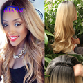 Hot sale Black to blonde Synthetic Hair Wigs For Black Women ombre black to 27# wave Heat Resistant Freetress Hair Synthetic Wig