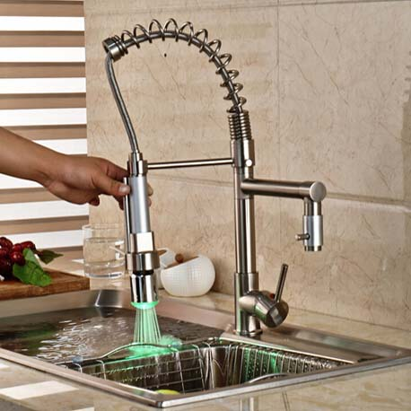 Deck Mounted Brushed Nickel Spring Kitchen Facuet Swivel Spout Sink Mixer Tap LED Color Changing Hot and Cold Water modern led changing deck mount brushed nickel spring kitchen faucet dual swivel spouts mixer tap