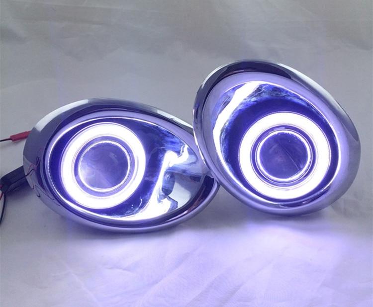 Cob ангел глаз DRL дневного света + галогеновые противотуманные фары + объектив проектора + противотуманные лампы чехол для Nissan усп 2011-13, 2шт
