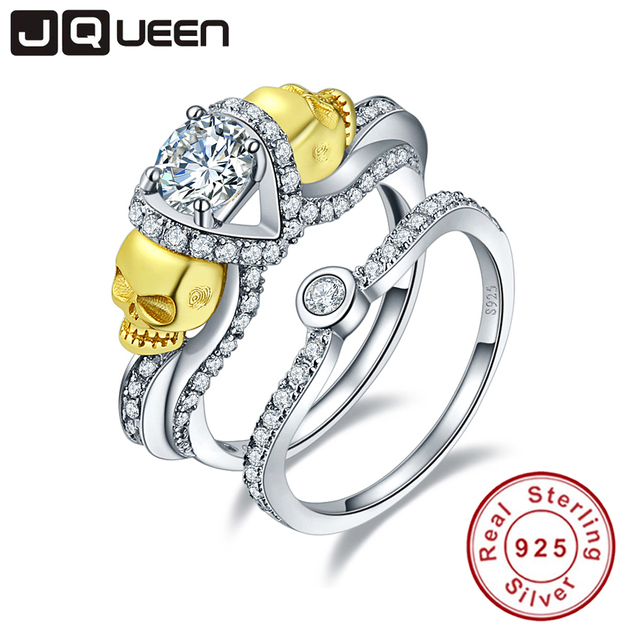925 Sterling Silver Cubic Zirconia Stone Skull Ring