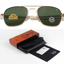HBK Classical Aviation Sunglasses Men AO Sun Glasses For Male American Army Military Optical Glass Lens Oculos With BOX K40023