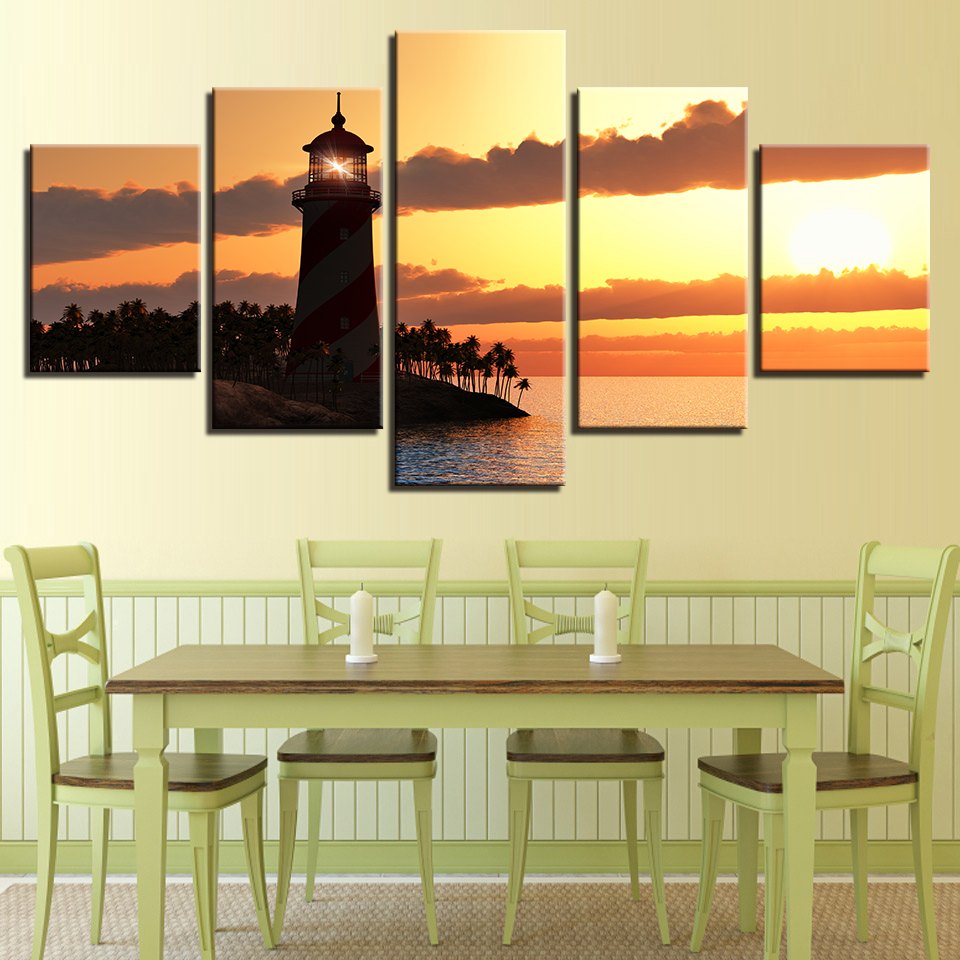 Modular Painting Canvas Wall Art Pictures Home Decor 5 Pieces Sunset ...