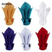 OurWarm 10Pcs Wedding Table Napkins Satin Handkerchief Pocket Square Napkin Serviettes Decoration Disposable Tableware