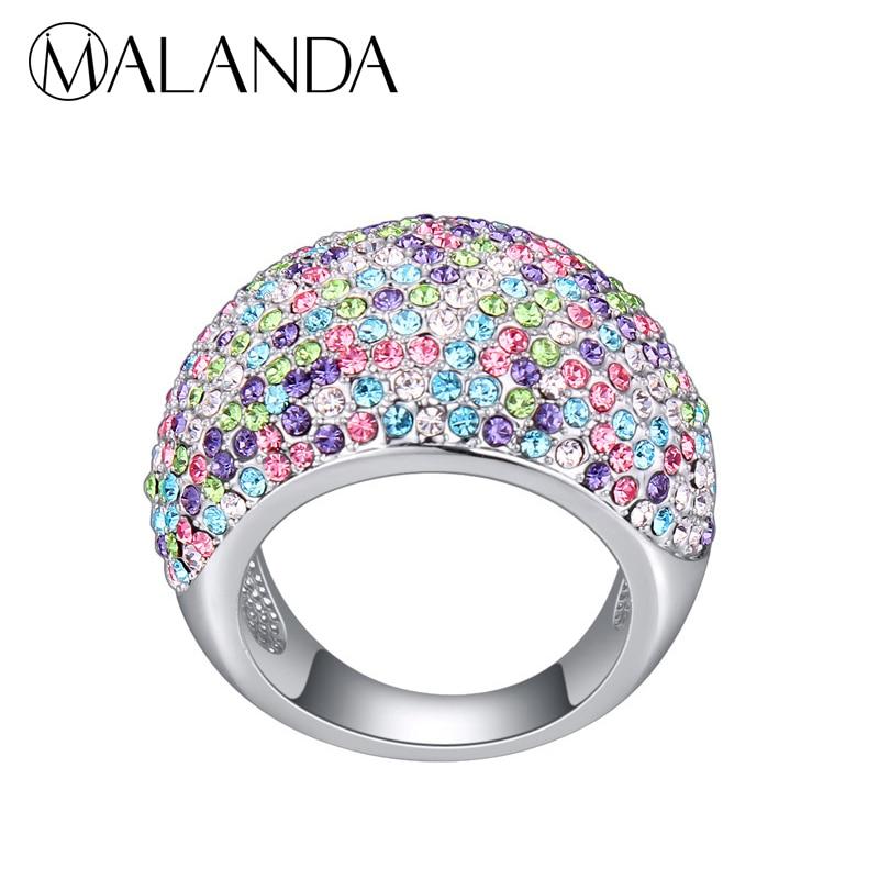 MALANDA New Circular Crystals From Swarovski Gorgeous Rings For Women Fashion silver Gold Color Luxury Wedding Ring Jewelry Gift цены онлайн